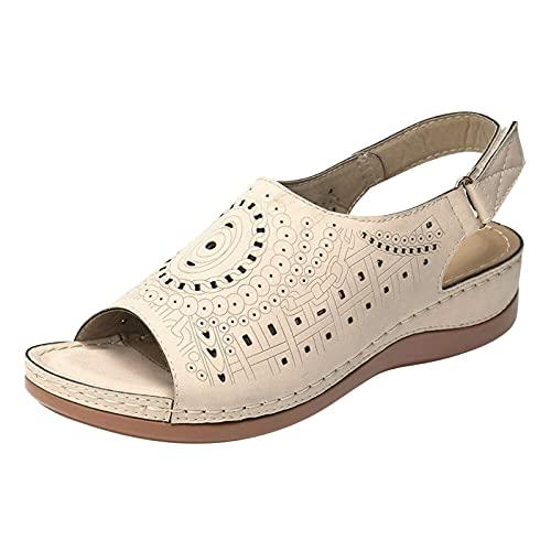 Ghemdilmn Sandali da donna con zeppa, comodi e traspiranti, con dita aperte e supporto per caviglia, scarpe da viaggio, casual, da viaggio, beige., 42 EU