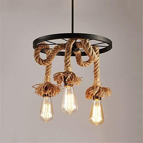 YAN FEI Accesorio de iluminación Vintage Techo Industrial Colgante Colgante de cáñamo de cáñamo de cáñamo de cáñamo decoración de luz para Sala de Estar Comedor Cocina Restaurante Loft Chandelier E27