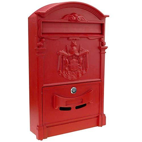 PrimeMatik - Briefkasten Postkasten Retro Antik Vintage metallische Schwarze rot für wallmount