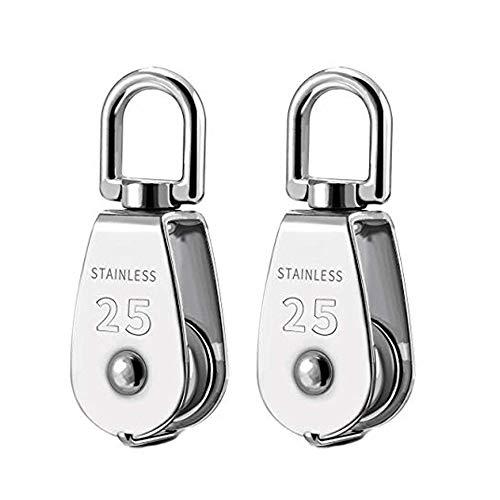 2 piezas 25MM polea monobloque acero inoxidable 304