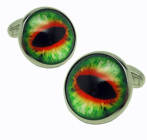 KFYU Drachenzähmen Runde Green Dragon Brillen Manschettenknöpfe Knöpfe