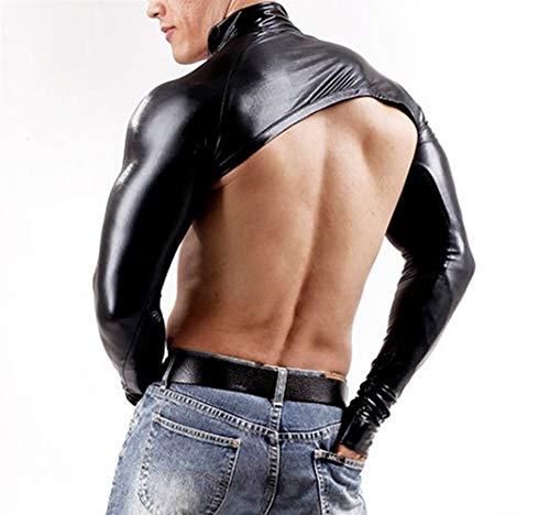Security Accessory Männer Erotik Kleidung Herren Chest Harness Bodybuilding Tops PU-Leder Langarm Crop männlich Schultergurt Bühnenkostüm Clubwear Exotic Tank Tops Tops (Color : Black, Size : XXL)
