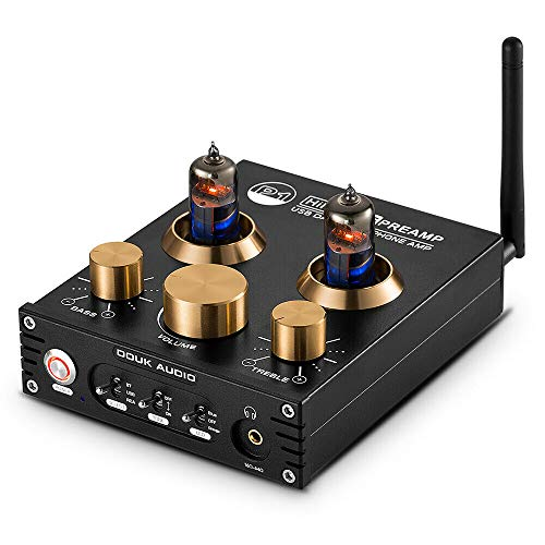 Douk Audio P1 Bluetooth 5.0 - Preamplificador para Tubos de vacío (Hi-Fi Valve Headphone Amplifier Wireless Receiver Audio Decoder Preamp USB DAC APTX)
