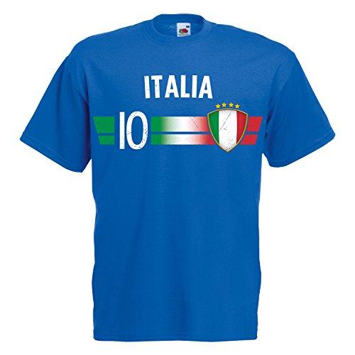 Fußball WM T-Shirt Fan Artikel Nummer 10 - Weltmeisterschaft 2018 - Länder Trikot Jersey Herren Damen Kinder Italien Italy L