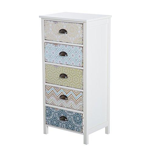 HOMCOM Chest of 5 Drawers Bedside Cabinet Side Storage Chest Entryway Living Room Bedroom Furniture Organizer Unit