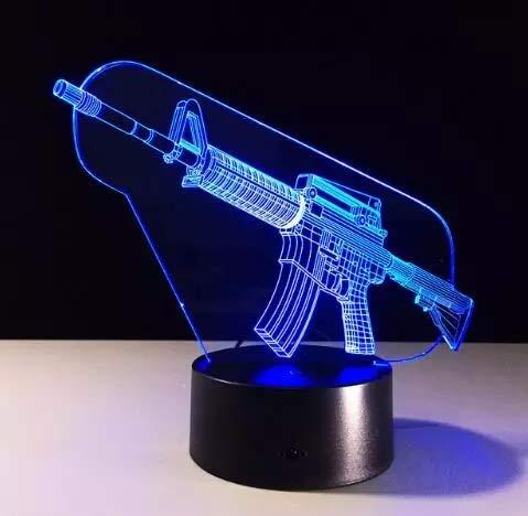 Armas de fuego creativas Luz de visión 3D Lámpara de mesa multicolor Luz de noche LED Luz de noche acrílica Regalos artesanales para niños