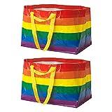 IKEA Kvanting (Frakta) Taschen, groß, wiederverwendbar, 71 l, mit Pride-Regenbogen, 2er-Set
