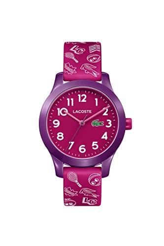 Lacoste Relógio infantil TR90 de quartzo com pulseira de borracha, rosa, 14 (modelo: 2030012)