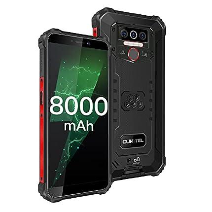 OUKITEL WP5 Móvil Libre Resistente, Android 10.0, 4+32GB Impermeable IP68 Rugged Smartphone, 8000mAh Batería 5.5'' HD+ (Gorilla Glass) Telefono Movil Robusto,Triple Cámara,4 LED Flash (Negro)