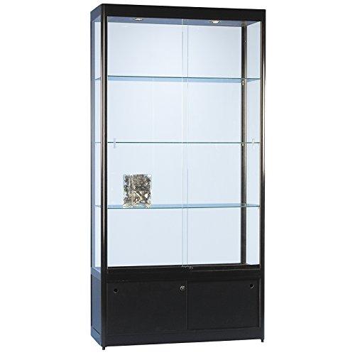 DELIGHT DISPLAYS Vitrine Glasvitrine Standvitrine Sammlervitrine Basic 1000 Alu Schwarz Glas beleuchtet abschließbar mit Schiebetüren und Unterschrank