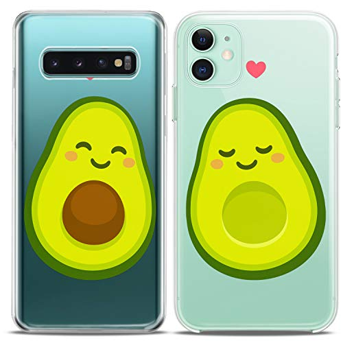 Cavka TPU Matching Couple Cases for Samsung Galaxy S20 Note 10 5G S10 A50 A10e S7 S8 Avocado Kawaii Fruit Clear Silicone Pair Cover Adorable Green BFF Anniversary Flexible Girls Cute Print Friend