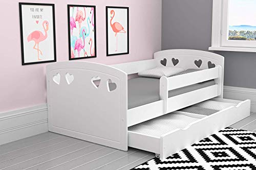 Cute Bed for Girls | Toddler Bed Children's Single Bed with Mattress and Storage Included | Perfect for Girls | Eco Paints Used | Maximum Safety | Up to 140 KG!,(White + 8 cm,Small (140x80))