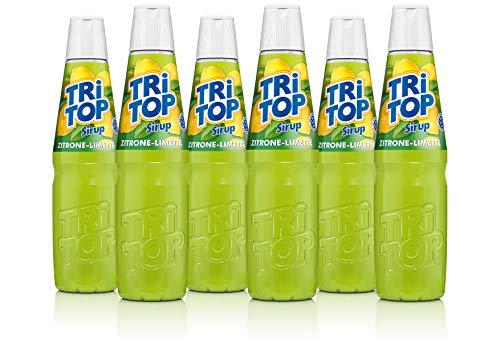 TRI TOP Zitrone-Limette | kalorienarmer Sirup für Erfrischungsgetränk, Cocktails oder Süßspeisen | wenig Zucker (6 x 600ml)