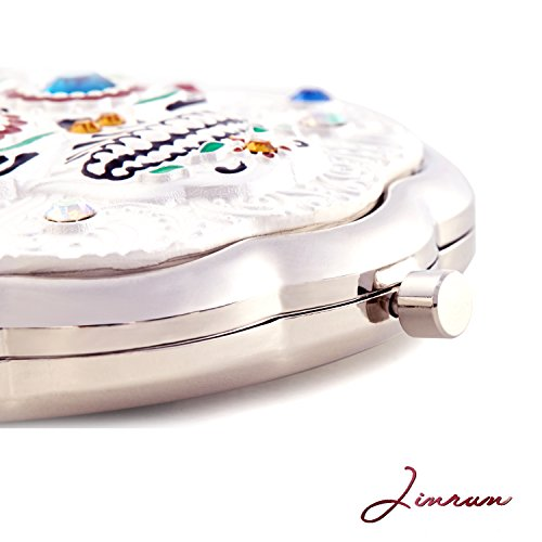 Jinvun Compact Personal Mirror for Makeup (Sugar Skull) Round, Handheld Portable/Vintage, Antique Day of the Dead Decorations/Purse, Small Bag, and Travel Carry/Foldable, Flip Open