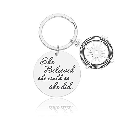 Nurse Gifts for Women Girls Birthday Graduation Gift RN Gift Inspirational Keychain for Best Friend College Nurses Student She Believed She Could So She Did