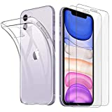 HTDELEC Cover iPhone 11 + 2 Pezzi Pellicola Vetro Temperato, Crystal Clear Sottile Morbido TPU...