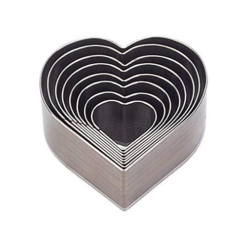 PandaHall Juego de 8 troqueles de acero al carbono, 8 tamaños, forma de corazón, herramienta de corte para manualidades, cuero, artesanía