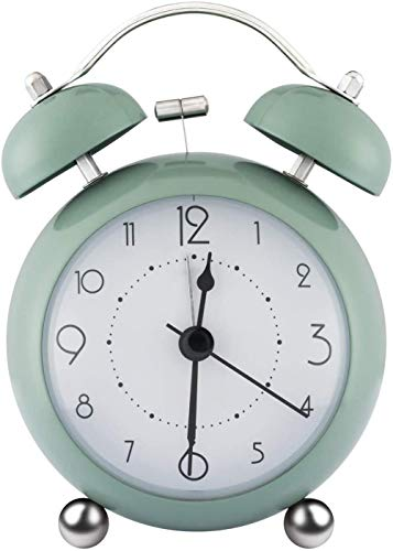 HUIQ® Reloj Despertador Retro de cabecera con Campanas gemelas, sin tictac, de 3,37 Pulgadas, Redondo, Convexo, Mini Reloj con luz Nocturna, Gran Reloj de Pantalla Digital para Dormitorio, Oficina