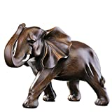 Elefanten Deko Figuren, Afrika Deko Skulptur,Elefant für Fensterbank Schlafzimmer Wohnungs Modern,Holzmaserung Polyresin Statue,Uziqueif Wohnzimmer Dekoration