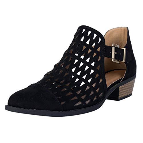 Celucke Ankle-Boots Damen Stiefeletten mit Cutouts, Spitze Stiefel Frauen Kurzstiefel Elegante Schuhe Mode Bequem Damenschuhe (Schwarz, 38)