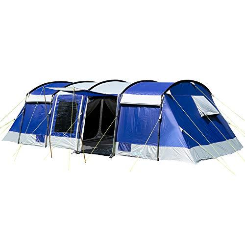 skandika Tunnelzelt Montana für 8 Personen | Sleeper Technologie, 3 bis 4 Schwarze Schlafkabinen, 5000 mm Wassersäule, Moskitonetz, 4 Eingänge, Familienzelt, große Fenster, großes Zelt (blau)