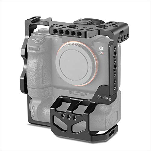 SMALLRIG Camera Cage for Sony A7R III/A7 III with VG-C3EM Vertical Battery Grip w/Cold Shoe, NATO Rail and 3/8'' Locating Holes for ARRI Standard - 2176