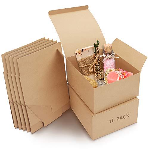 Belle Vous Geschenkboxen Kraftpapier Braun (10 Stk) – Karton Schachteln 20x 20x 10cm – Pappschachteln mit Deckel Einfach Aufzubauen – Geschenkbox Quadratisch für Geschenke, Party, Geburtstag, Hochzeit
