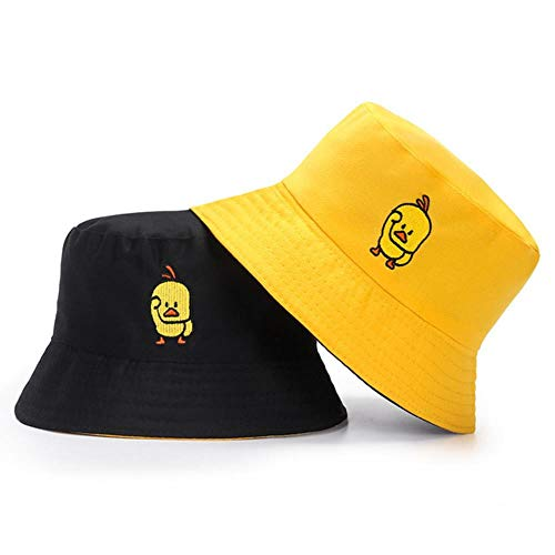 YLA Sombrero de Cubo de Doble Cara de Color Liso para Hombre, Mujer,Margarita de Verano, Sombrero de Pescador, Gorras de Sol al Aire Libre,PatoAmarillo Negro