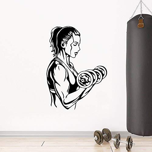 Gimnasio Fitness Deportes Mancuernas Ejercicio Músculo Mujer Inspirador Etiqueta de la pared Vinilo Arte Calcomanía Dormitorio Sala de estar Sala de entrenamiento Club de culturismo Decoración de