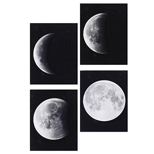 4 Pedazos Cuadro al Óleo Artesanía de Lona Impresión de Luna Decoración de Hogar Cafetería