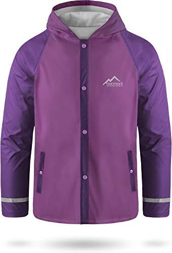 Kids Kinder Regenjacke mit Kapuze Regenmantel mit Einschubtaschen für Jungen und Mädchen - Wassersäule: 5000 mm mit 3M™ Scotchlite™ Reflektoren und 2-Wege-Stretch Farbe Violett Größe XL-158/164
