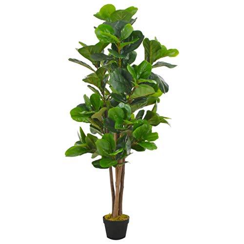 vidaXL Planta Artificial Decoración Ficus Maceta Flores Decorativas Realistas Exterior Interior Oficina Hojas Grandes Plástico 152 cm Alta Verde
