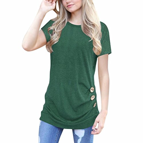 OVERDOSE Damen Kurzarm Lose Knopfleiste Bluse Einfarbig Rundhals Tunika T-Shirt Sommer Oberteil Tops(A-Grün,M)