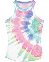 YIKIBODA Women's Racerback Tank, Summer Tie-Dye Knit Ribbed Crew Neck Tank Top Cami Vest Shirt, Pink Green, US Medium = Tag L