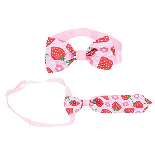 bizofft Collares para Perros, Patrones de Fresa Corbatas para Perros Desmontables para Perros pequeños para decoración de Gatos
