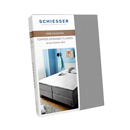 Schiesser Topper-Spannbettlaken Jersey-Elasthan, Baumwolle, Farbe:Silber, Größe:180 cm x 200 cm