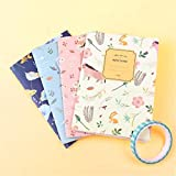 YUYUO 4Pcs / Set Cute Flowers Birds Animal Notebook Painting Of Diary Book Journal Record Office School Supplies