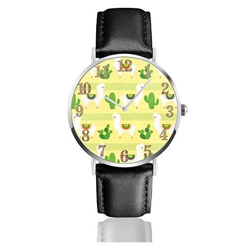 Reloj de Pulsera Lovely Cactus Alpaca Durable PU Correa de Cuero Relojes de Negocios de Cuarzo Reloj de Pulsera Informal Unisex