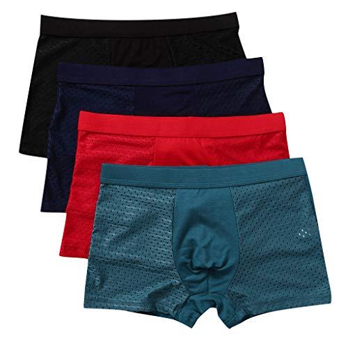 BIBOKAOKE Männer Unterwäsche Set,Eisseide spurlos Atmungsaktiv Herren Unterhosen Gemütlich Herren Boxershorts Unterhosen Höschen Underpants, 4er Pack