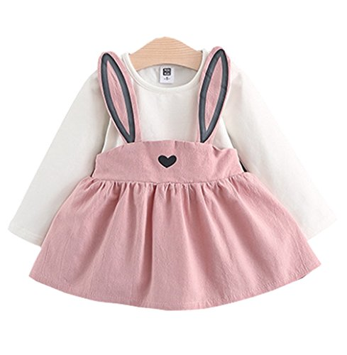 Baby Girls Rabbit Style Long Sleeve Princess Flower Dress (1T, Pink)