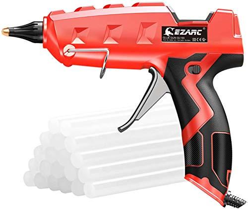 EZARC Pistola de Silicona Caliente, 100W Pistola de Pegamento Profesional con 20 Barras de Pegamento (11mm) para Arte, Empaques, Reparaciones y en el hogar, Oficina, Manualidades