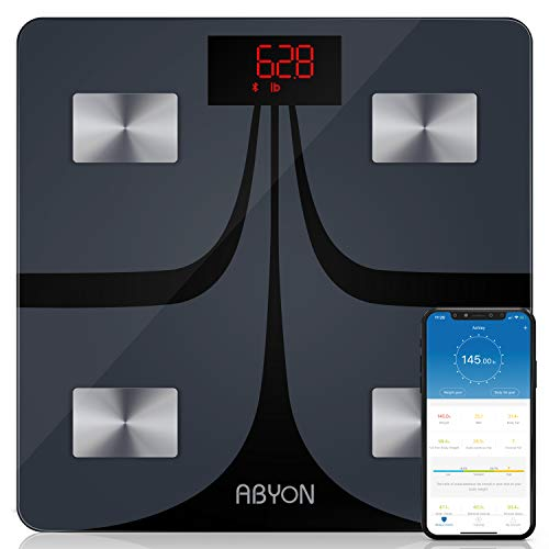 ABYON Bluetooth Smart Bathroom Scales for Body Weight Digital Body Fat ScaleAuto Monitor Body WeightFatBMIWater BMR Muscle Mass with Smartphone APPFitness Health Scale