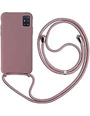 MEIVS Funda Compatible con Samsung Galaxy A71, Ajustable Collar Correa de Cuello CordónCarcasa de Silicona-Loto Color