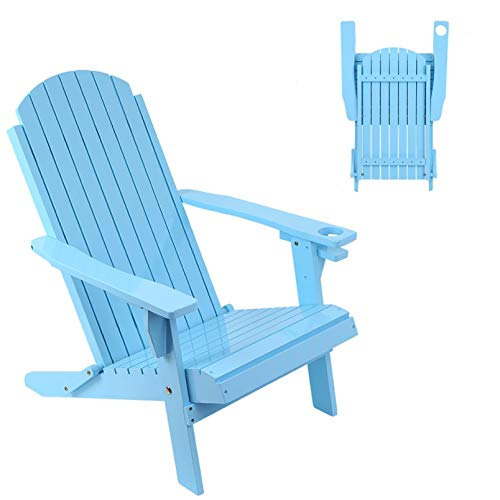Belone Folding Adirondack Chair with Cup Holder, Outdoor Chair, All-Weather Patio Chairs Lawn Furniture for Garden, Backyard, Porch- Blue