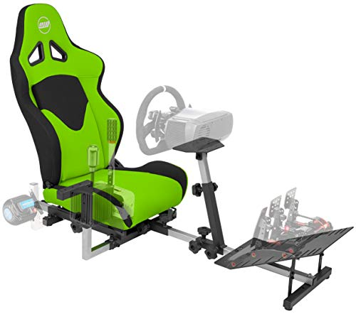 OpenWheeler GEN3 Racing Wheel Stand Cockpit Green on Black | Fits All Logitech G923 | G29 | G920 | Thrustmaster | Fanatec Wheels | Compatible with Xbox One, PS4, PC Platforms