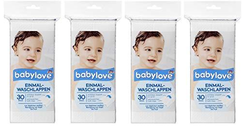 babylove Einmal-Waschlappen, 4er Pack (4 x 30 St)
