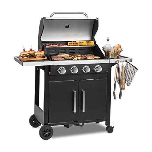 Klarstein Tomahawk 4.0 T - Gas Grill, 4 x 3.2 kW Burner, 69x39cm Grill, Stainless Steel, Uniform heat distribution, Thermometer, Includes gas hose, Robust, Rollers, Black