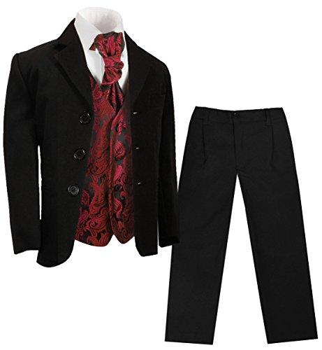 Paul Malone - Jungen Anzug für Kinder festlich schwarz + rote Paisley Hochzeit Weste + Plastron 12