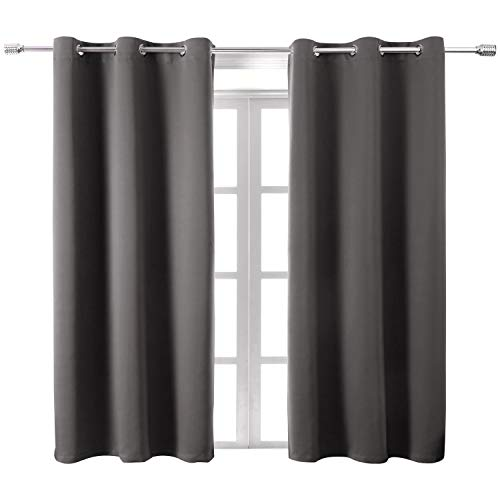 WONTEX Blackout Curtains Room Darkening Thermal Insulated with Grommet Window Curtain for Living Room, 38 x 45 inch, Grey, 2 Panels
