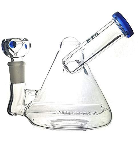 |H| Bong de Cristal, Forma de pirámide, percolador, 14 cm de Altura, Vaso de 14,5 mm, Cuenco Desmontable y Acentos de Colores (WP117)